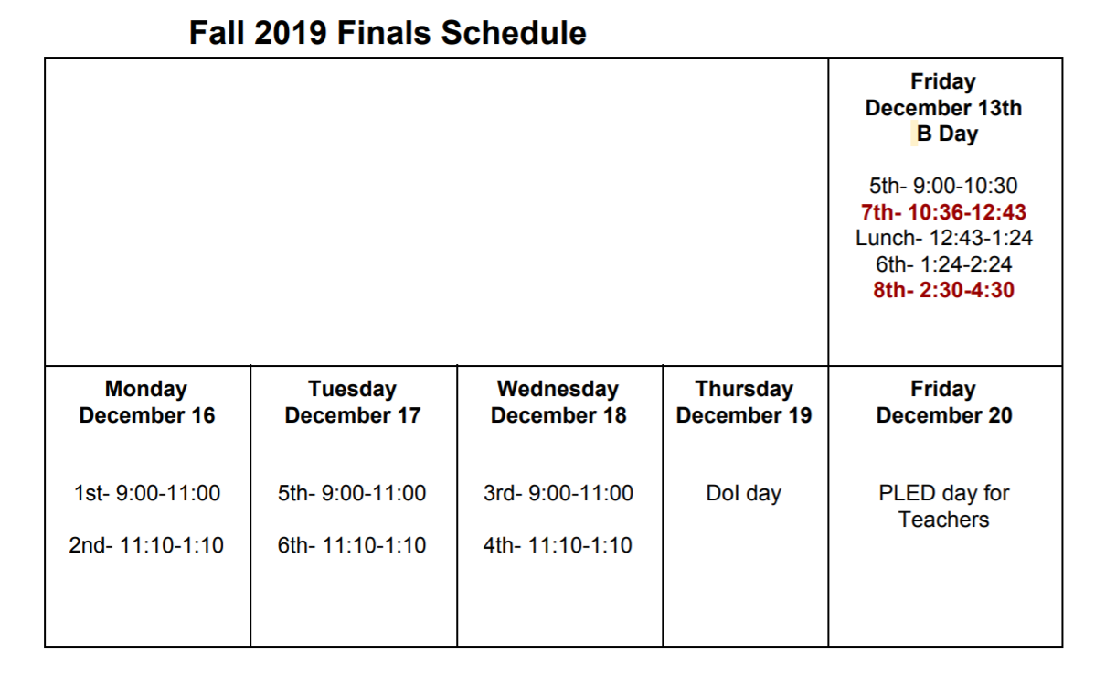Travis Fall Finals Schedule 2019